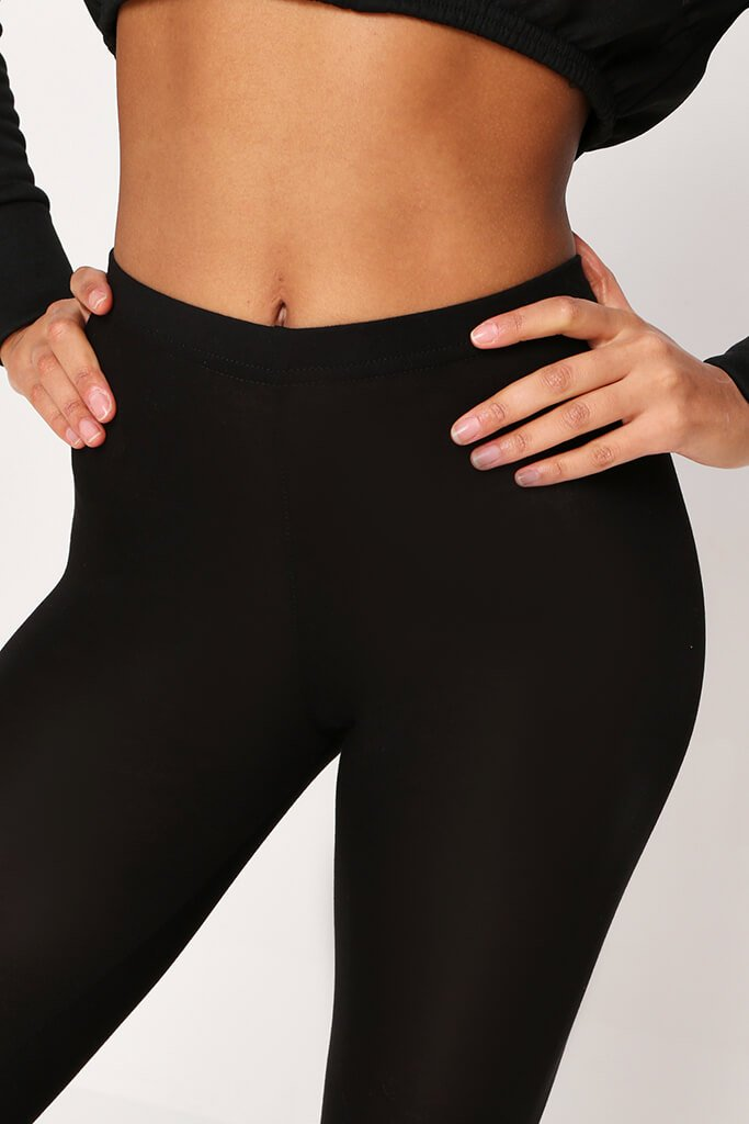 Black High Waisted Jersey Cropped Leggings view 4
