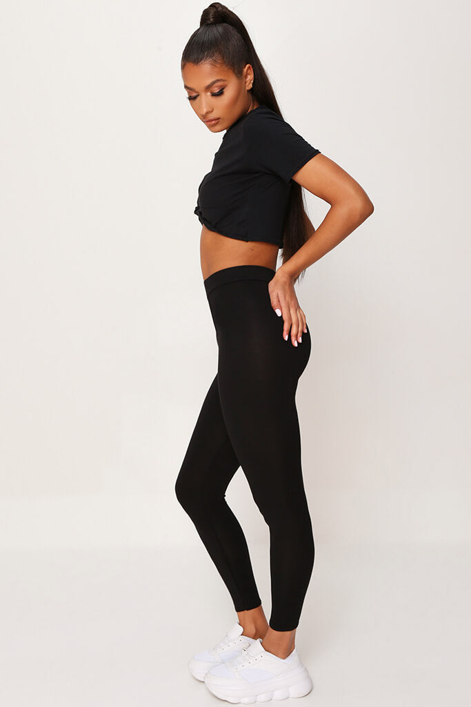Black High Waisted Leggings view 3