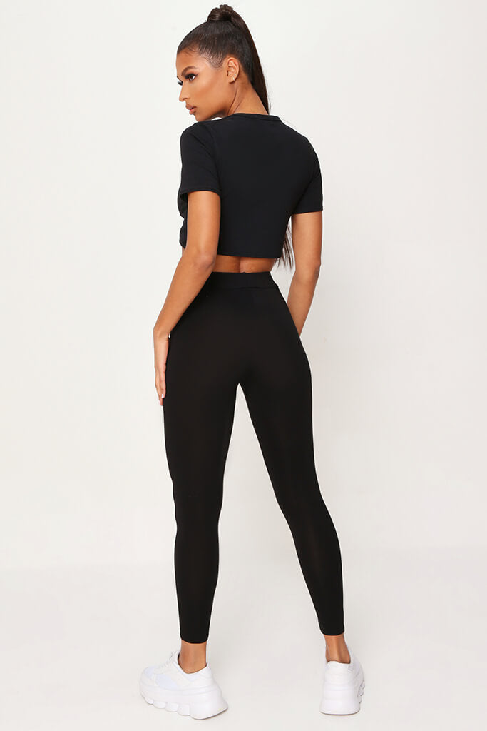 Black High Waisted Leggings view 5