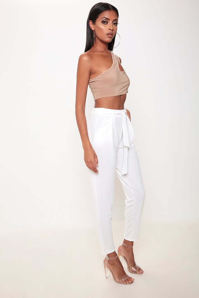 Ivory Tie Waist Cigarette Trousers view 3