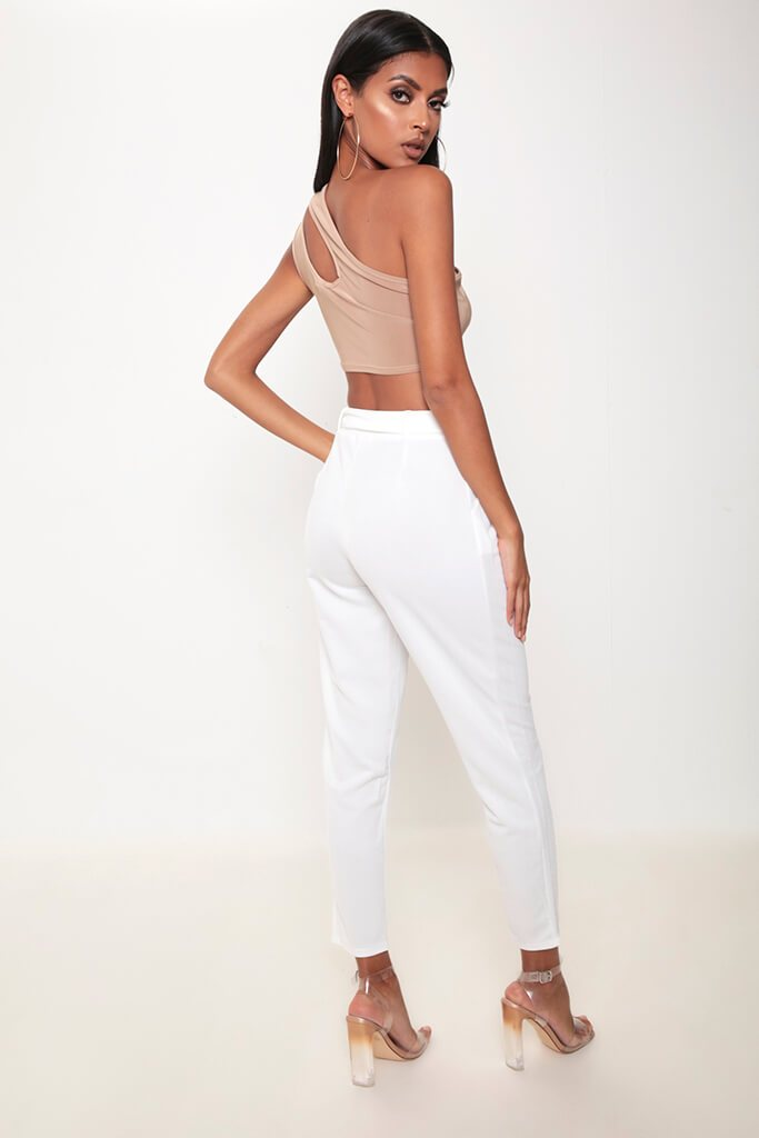 Ivory Tie Waist Cigarette Trousers view 5