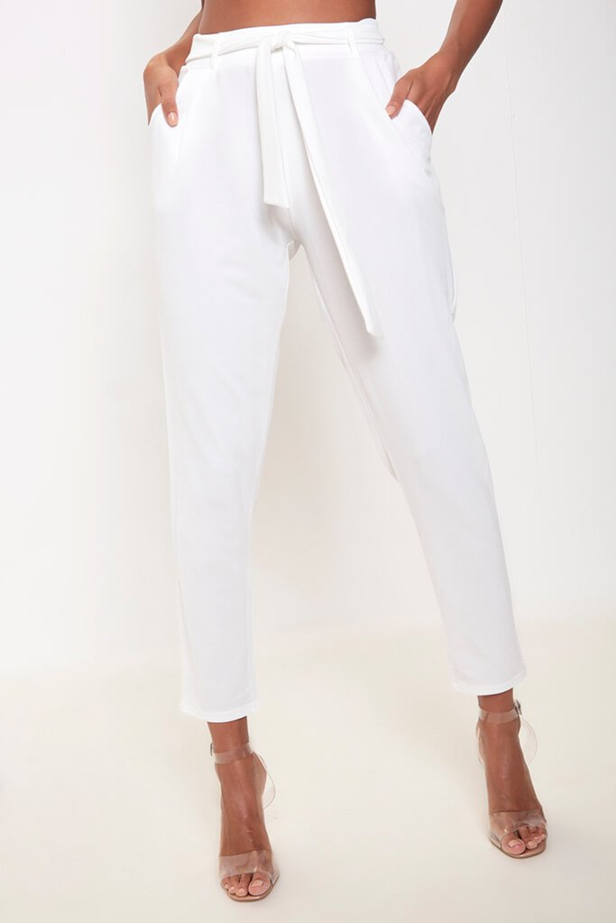 Ivory Tie Waist Cigarette Trousers view 2