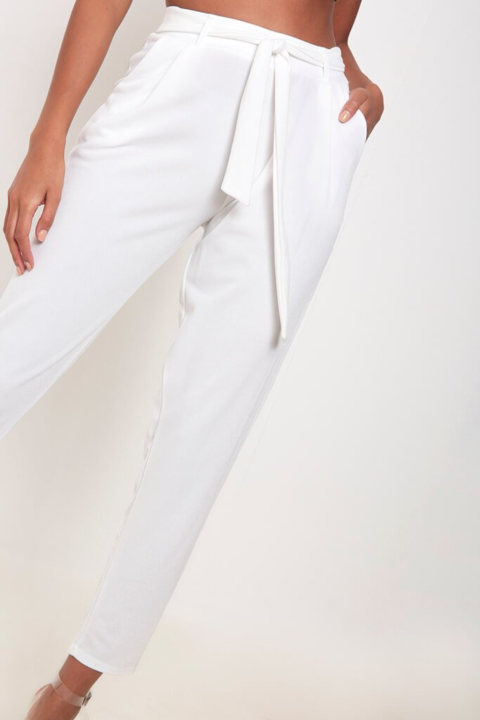 Ivory Tie Waist Cigarette Trousers view 4