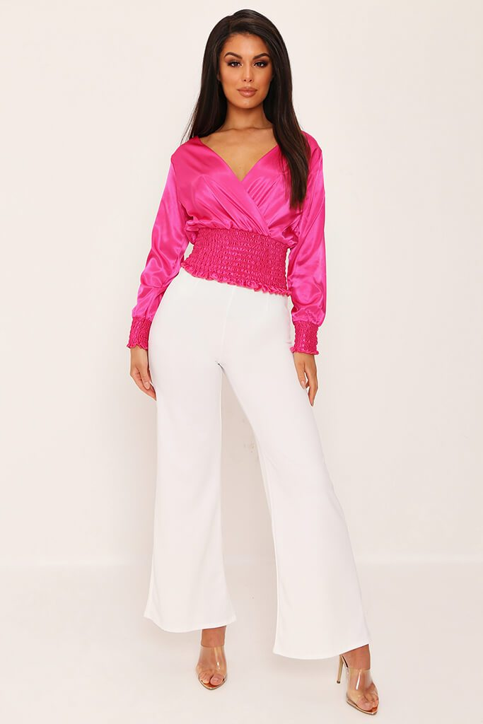 Cream High Waisted Palazzo Trousers