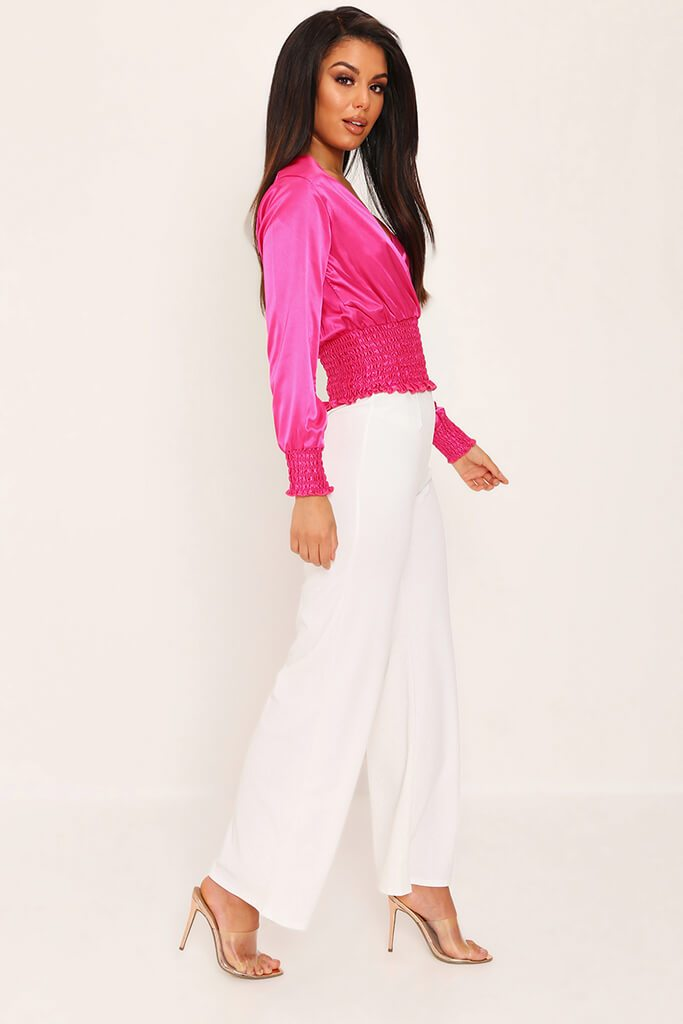 Cream High Waisted Palazzo Trousers view 3