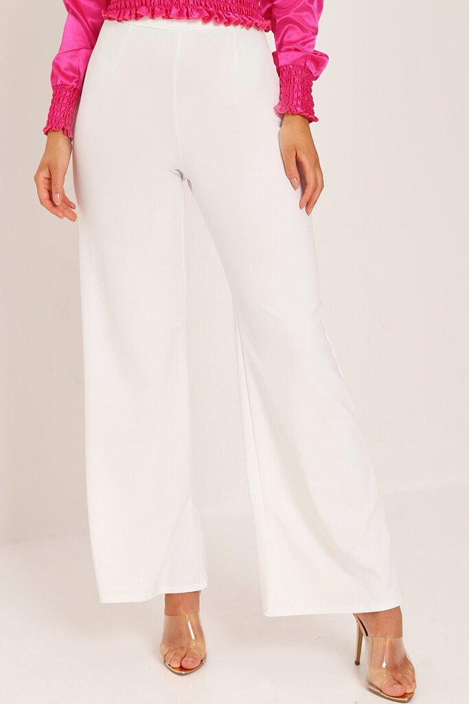 Cream High Waisted Palazzo Trousers view 2