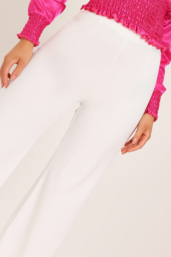 Cream High Waisted Palazzo Trousers view 4
