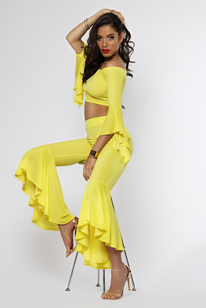 Yellow Fit And Flare Trousers