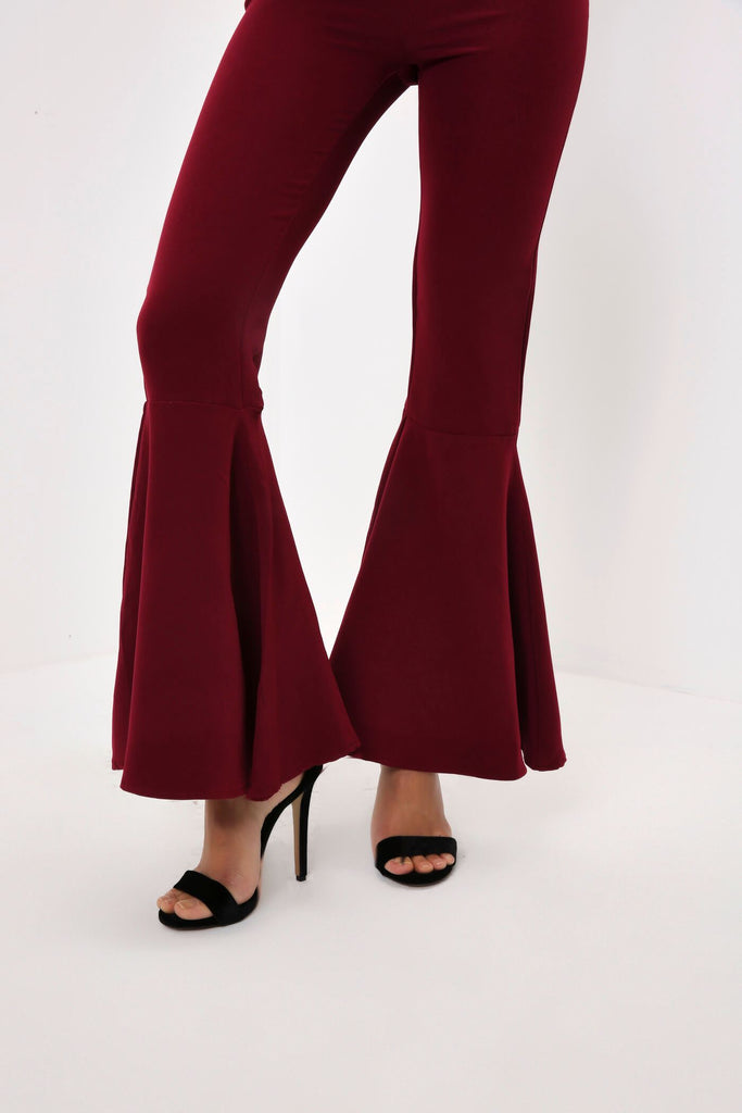 Burgundy Tailored Flare Trouser