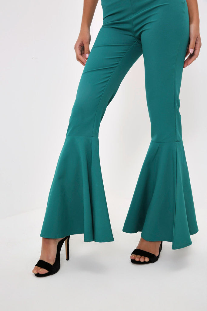 Green Tailored Flare Trousers