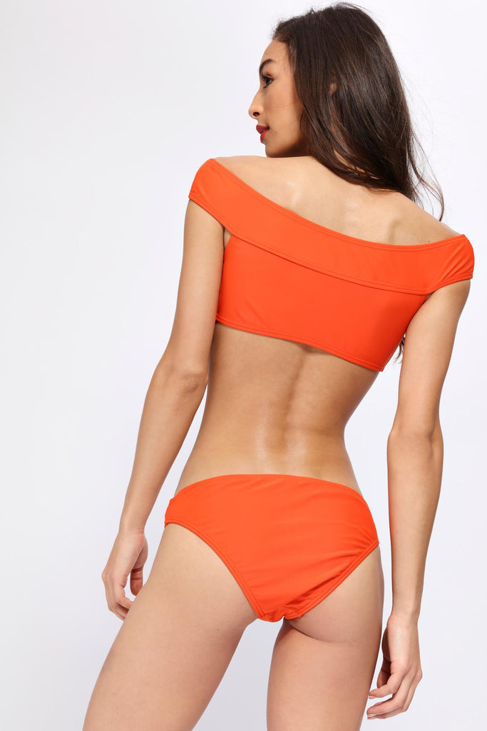 Orange Lace Up Front Bikini Top