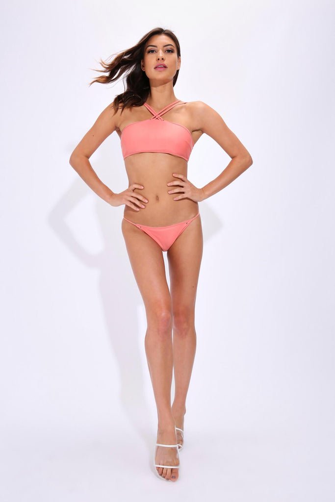 Coral Bikini Bottoms With Eyelets