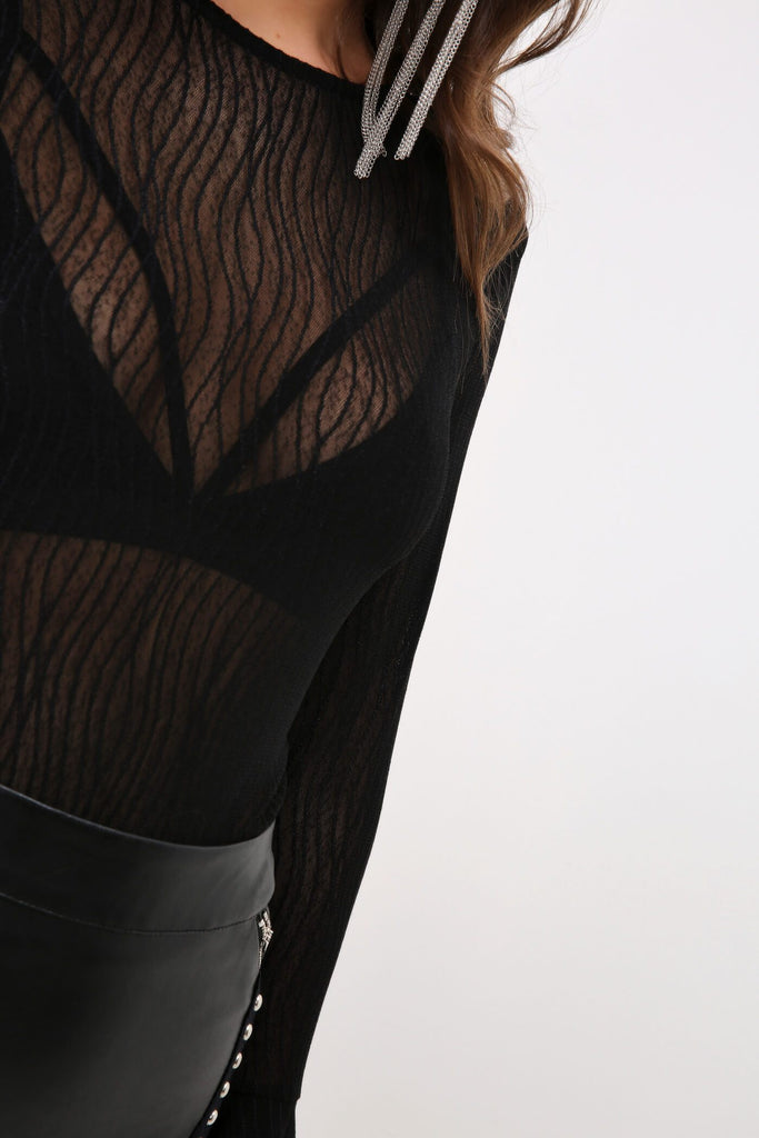 Black Curved Stripe Embroidered Bodysuit