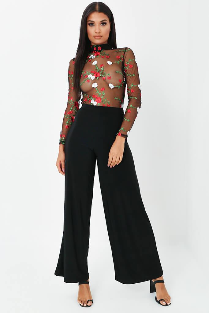 Black Embroidered High Neck Bodysuit view 3
