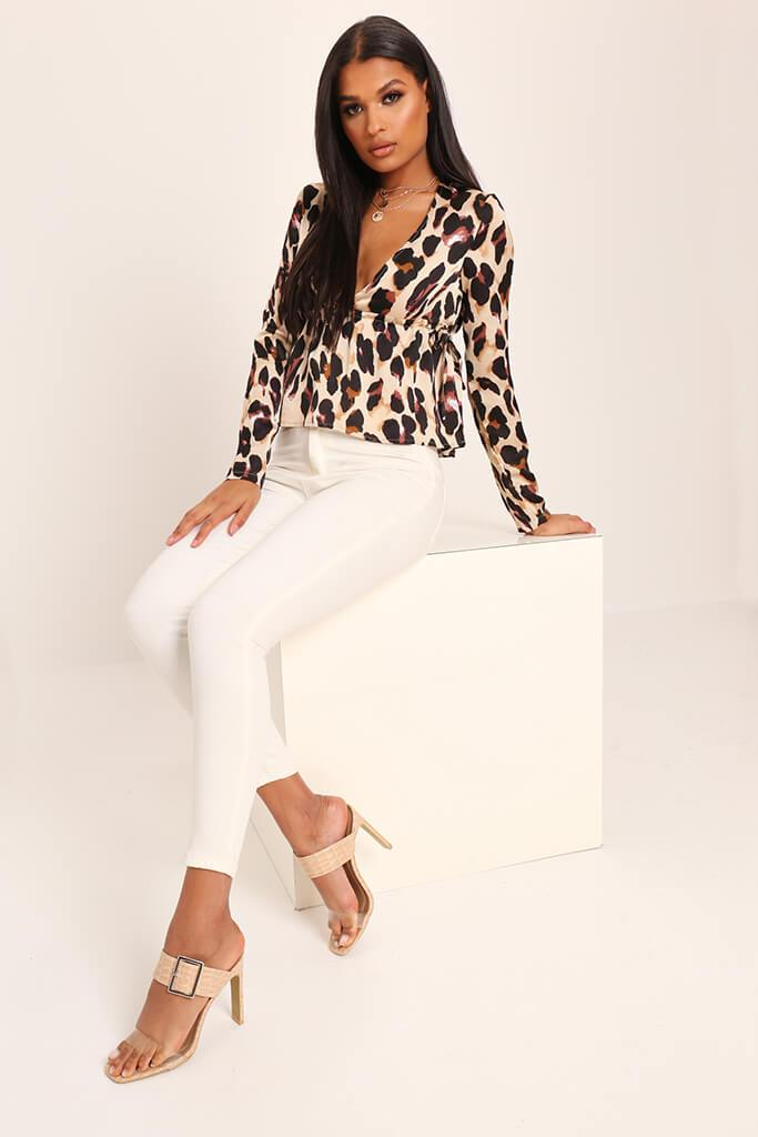 Leopard Print Deep Plunge Long Sleeve Shirt view 2