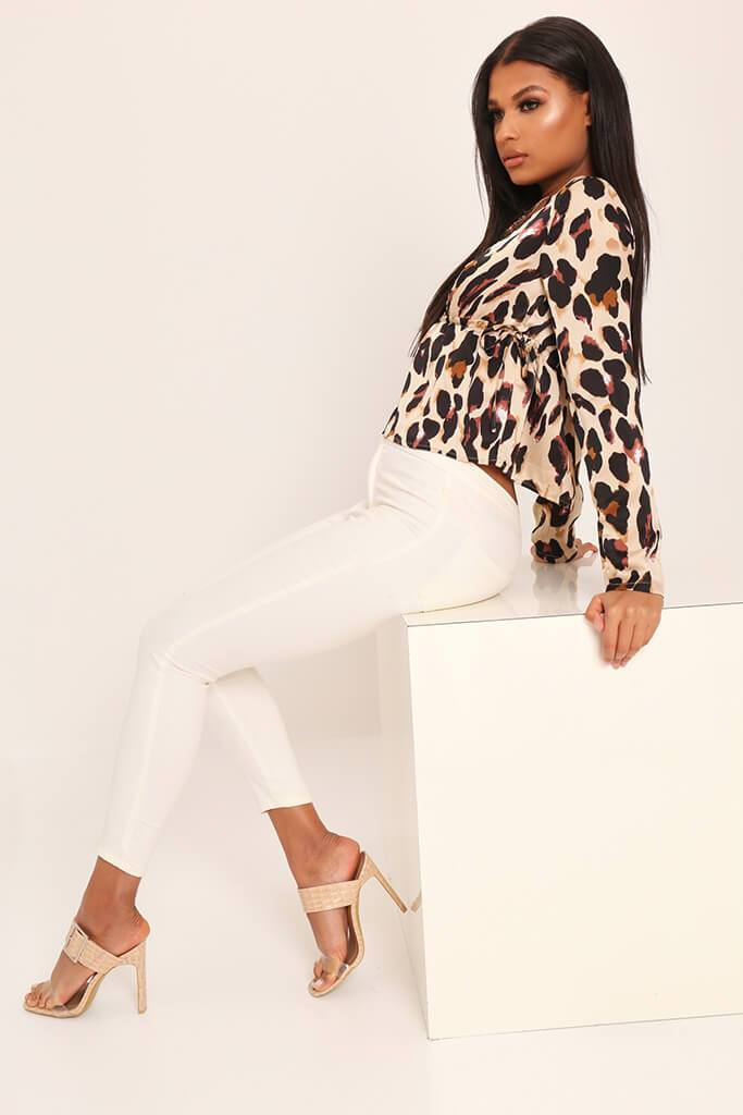 Leopard Print Deep Plunge Long Sleeve Shirt view 3