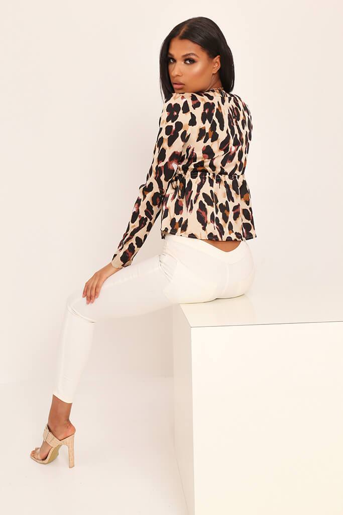 Leopard Print Deep Plunge Long Sleeve Shirt view 5