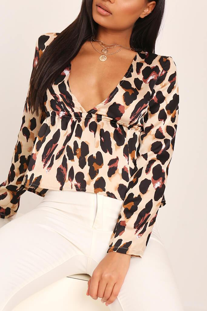 Leopard Print Deep Plunge Long Sleeve Shirt view 4