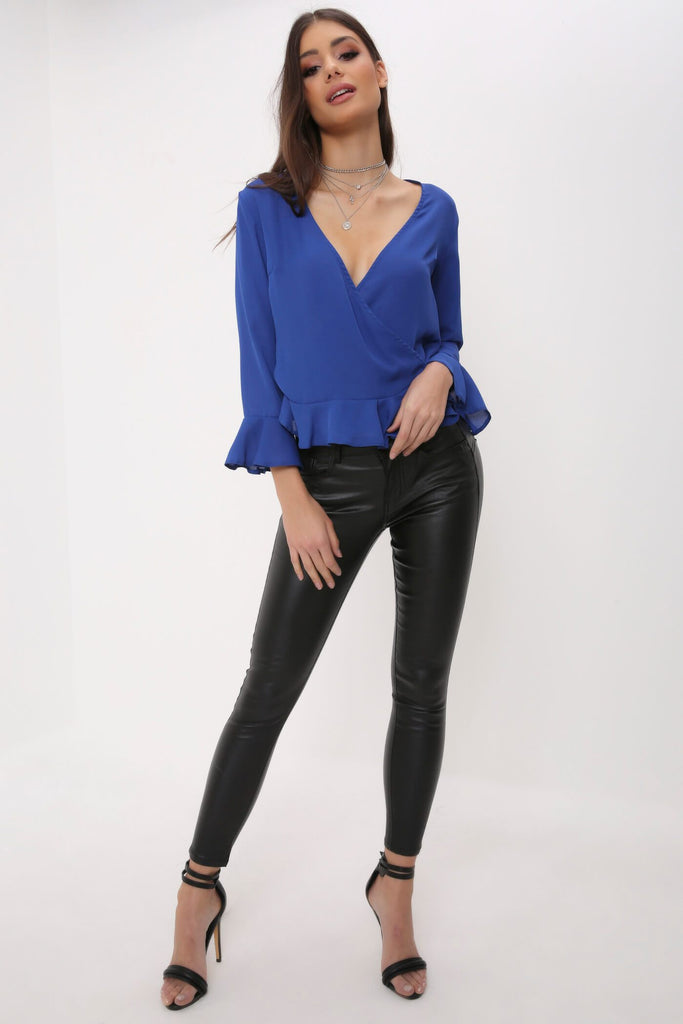 Blue Frill Hem & Sleeve Wrap Blouse