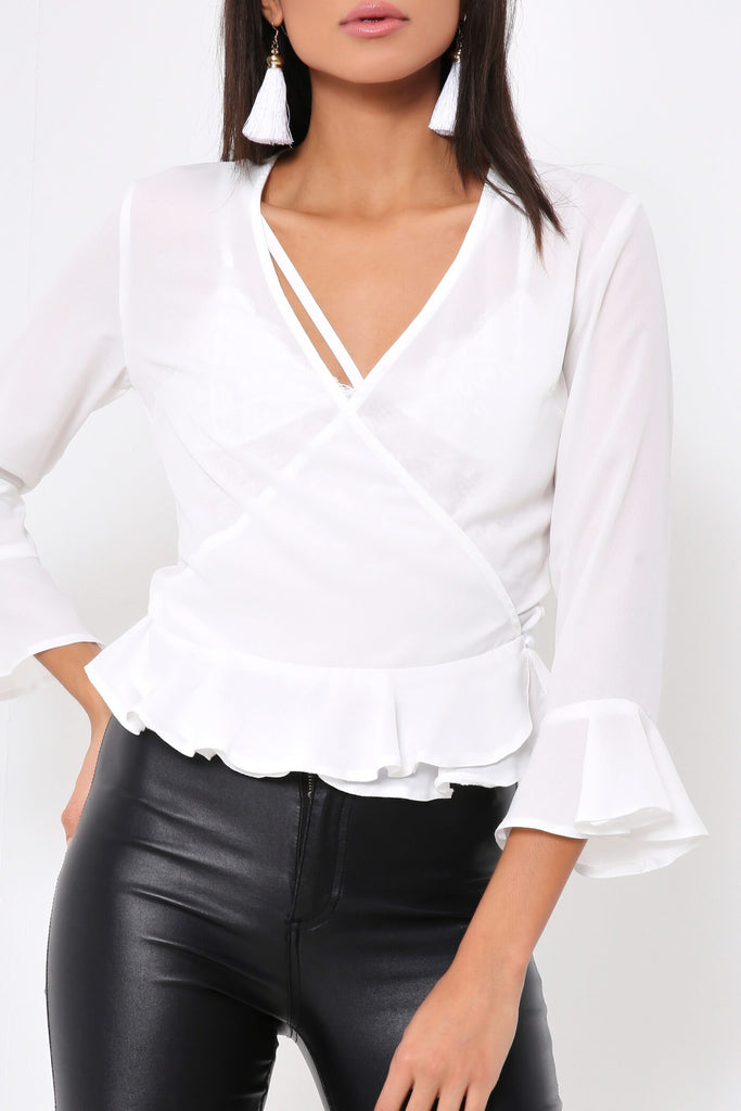 White Frill Hem & Sleeve Wrap Blouse