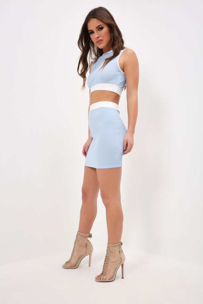 Baby Blue Colour Block Crop Top