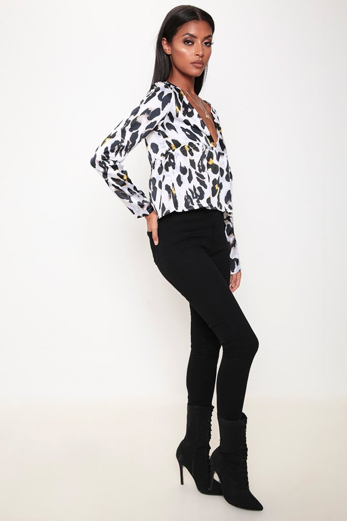 White Leopard Print Plunge Tie Long Sleeve Shirt view 4