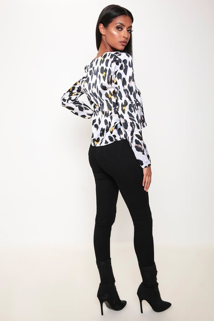 White Leopard Print Plunge Tie Long Sleeve Shirt view 5