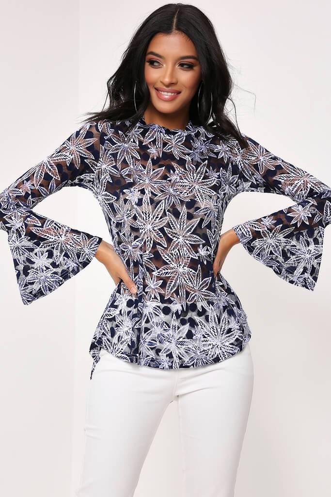 Blue Flare Sleeve Floral Top