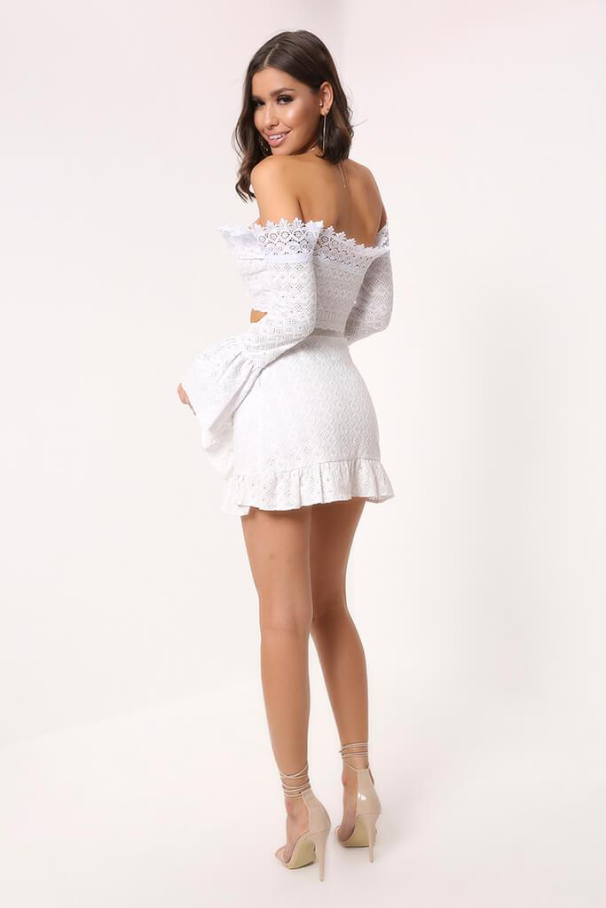 b9961319d49 White Lace Bardot Flare Sleeve Top - PDP – I SAW IT FIRST