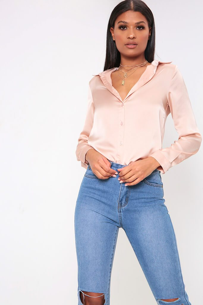 Nude Satin Button Through Shirt view main view