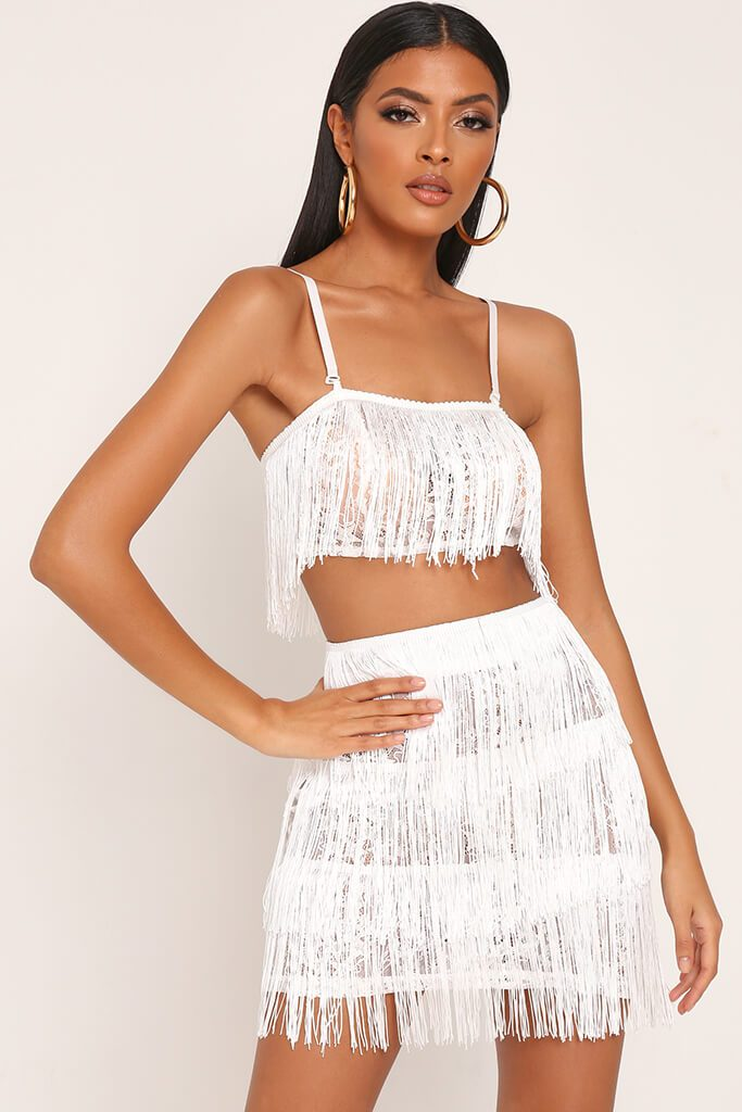 White Fringe & Lace Bralet view main view