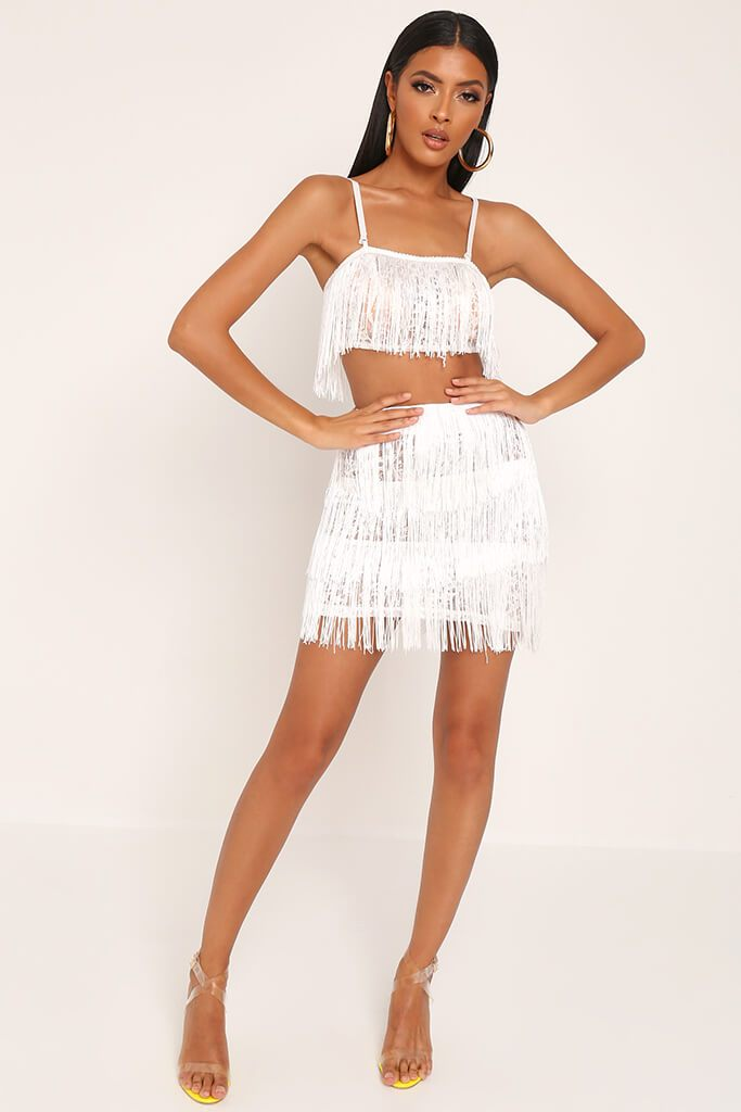 White Fringe & Lace Bralet view 2