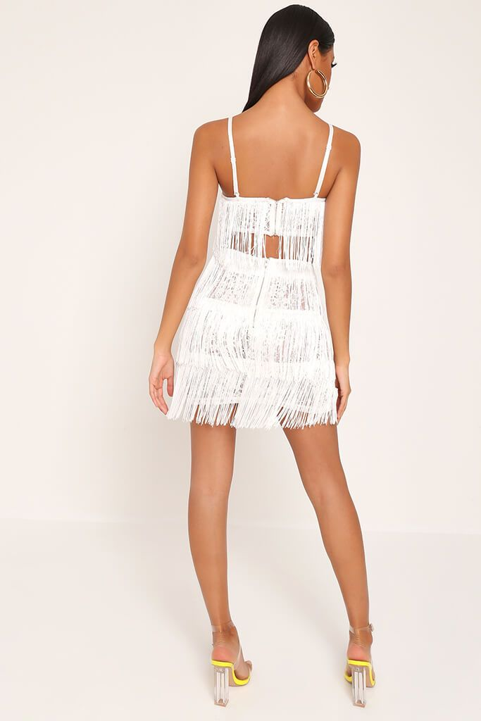 White Fringe & Lace Bralet view 5