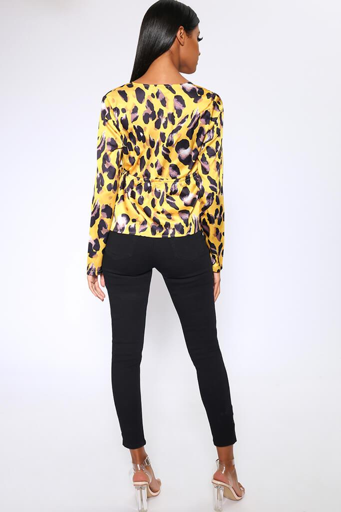 Mustard Leopard Print Deep Plunge Long Sleeve Shirt view 5