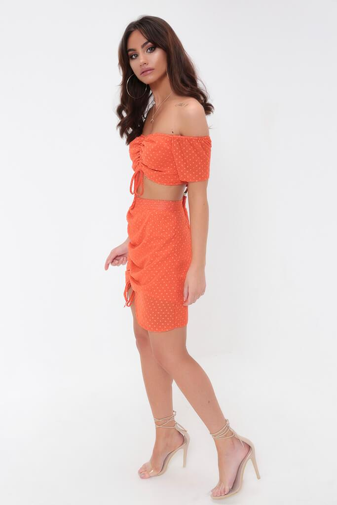 Orange Ruched Dobby Bandeau Top view 3