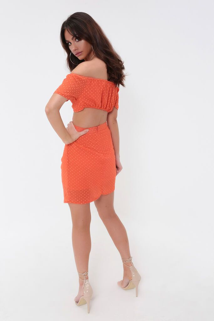 Orange Ruched Dobby Bandeau Top view 5