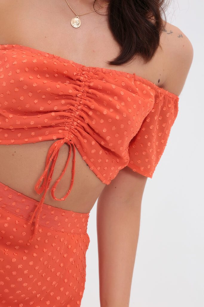 Orange Ruched Dobby Bandeau Top view 4