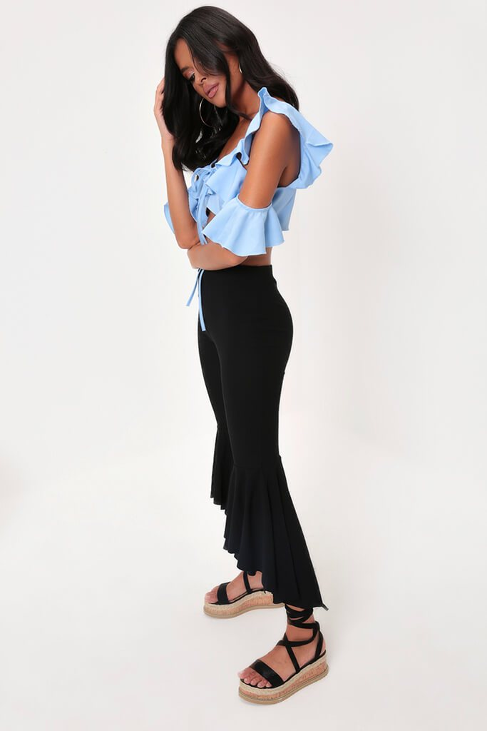 Blue Ruffle Cold Shoulder Crop Top view 4