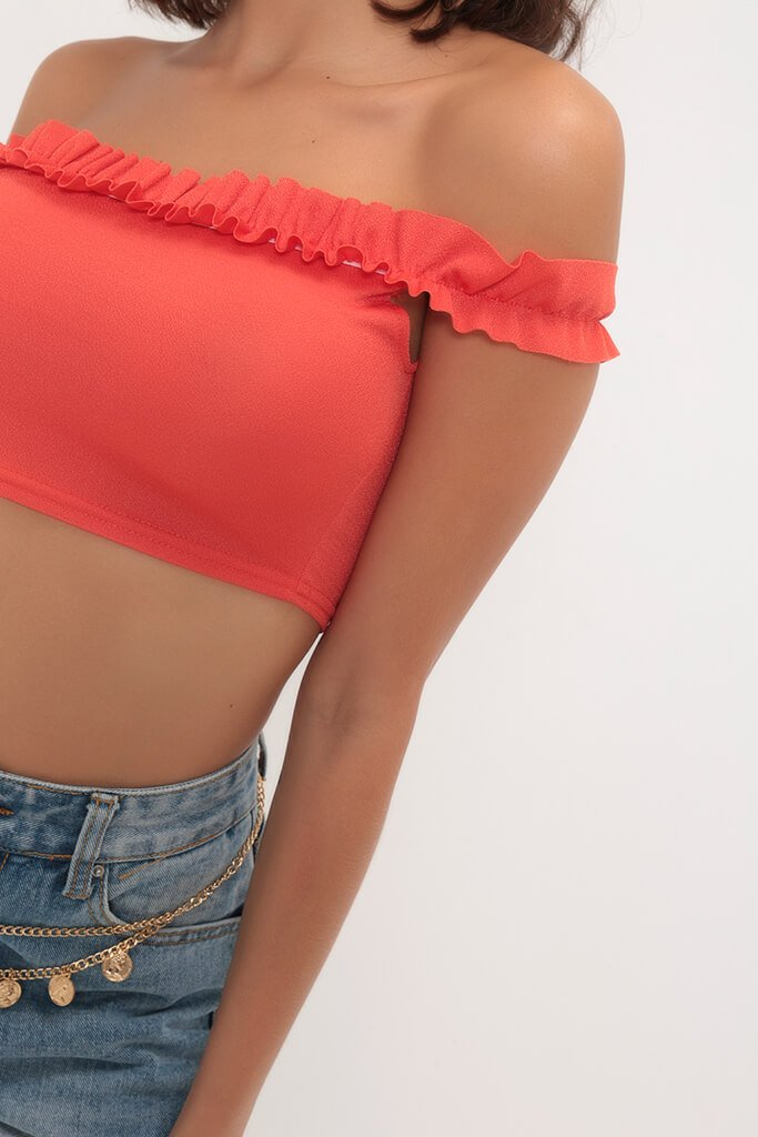 Orange Bardot Jersey Crop Top view 3