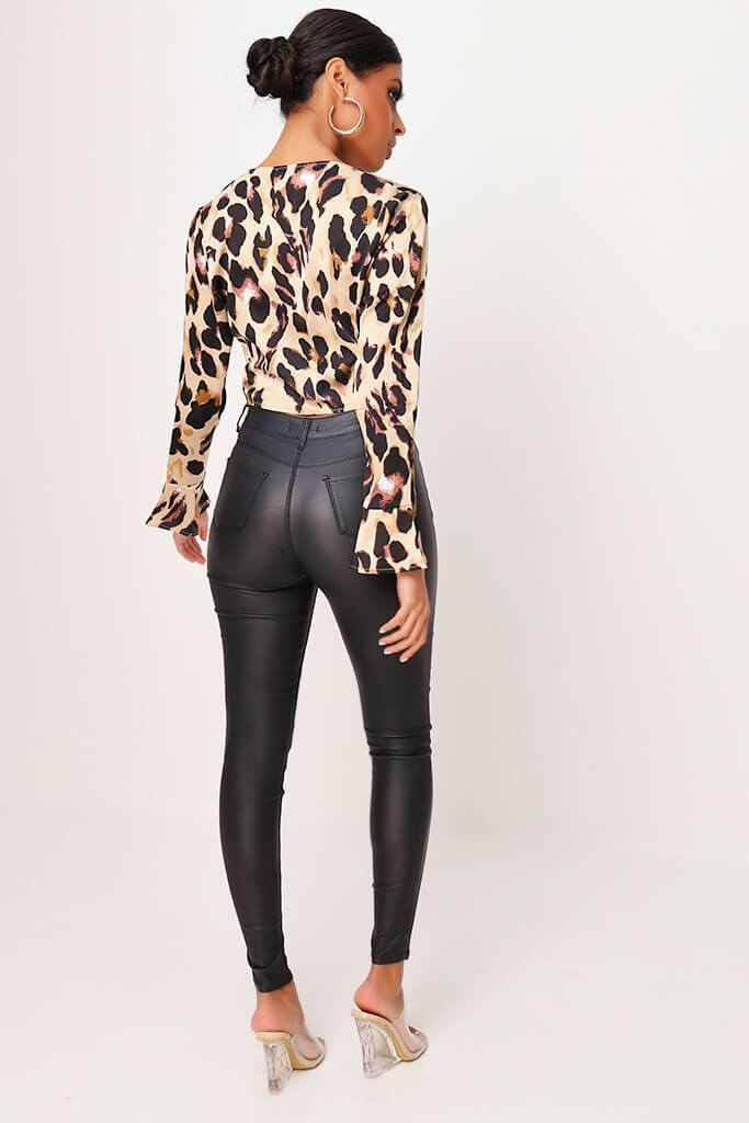 Brown Leopard Print Tie Front Flare Sleeve Crop Blouse view 5