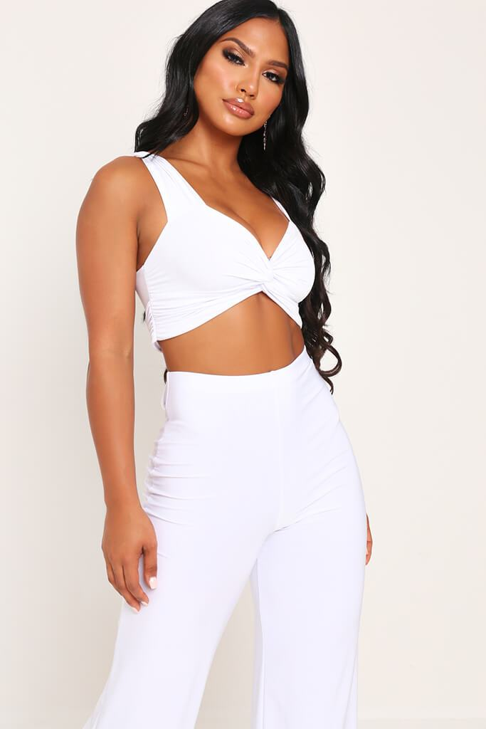 White Slinky Crop Top view main view