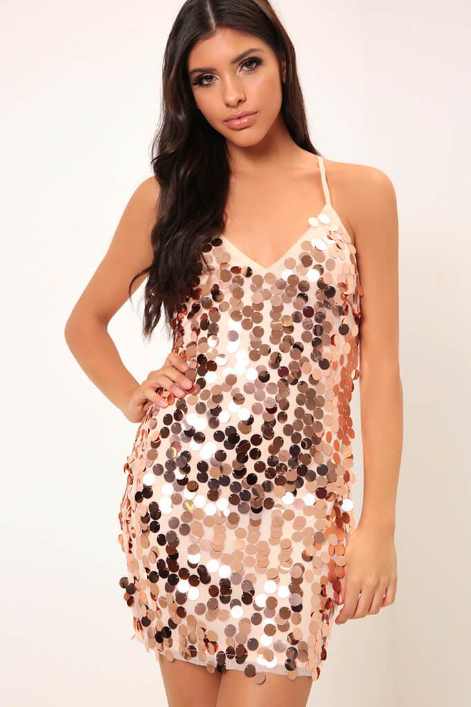 Rose Gold Giant Sequin Strappy Dress