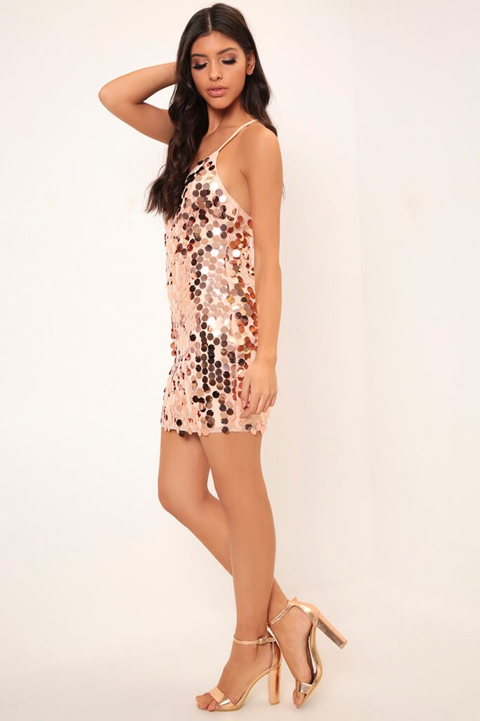 Rose Gold Giant Sequin Strappy Dress view 3
