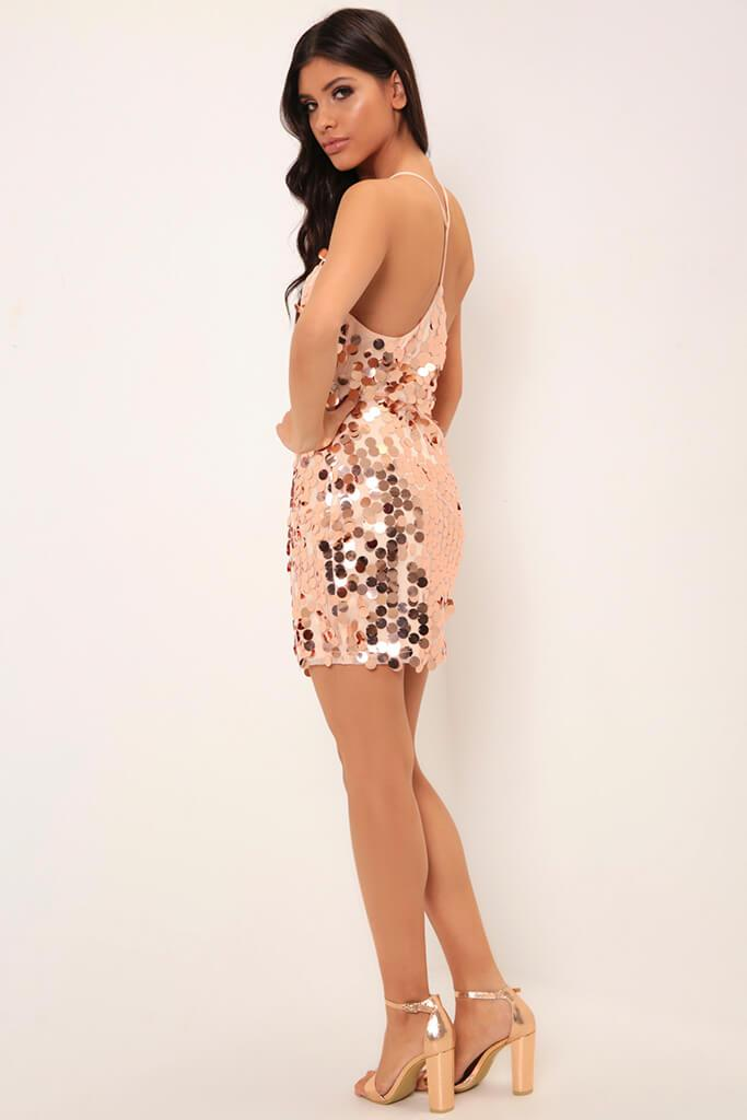 Rose Gold Giant Sequin Strappy Dress view 5