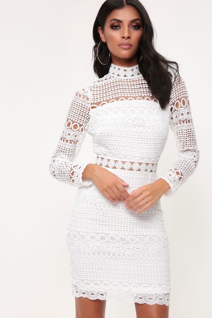 White High Neck Crochet Lace Dress Pdp I Saw It First
