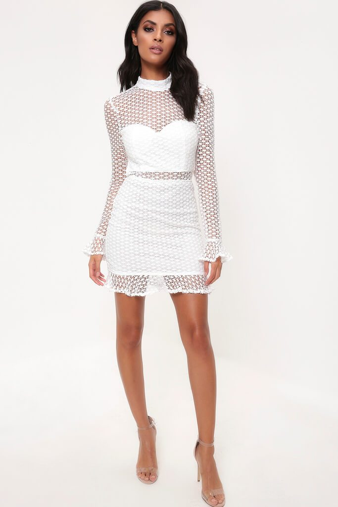 White Crochet Lace Flare Sleeve Bodycon Dress view 3