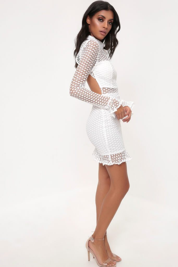 White Crochet Lace Flare Sleeve Bodycon Dress