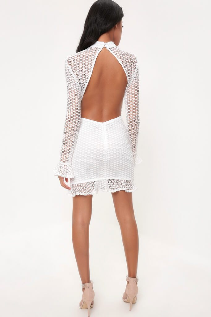White Crochet Lace Flare Sleeve Bodycon Dress view 5