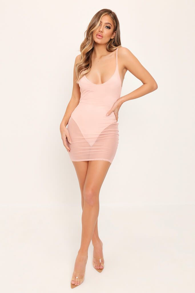 Nude Mesh Plunge Bodycon Dress view 3