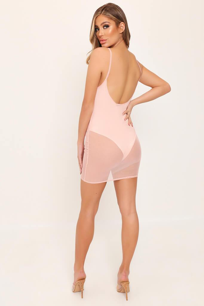 Nude Mesh Plunge Bodycon Dress view 5